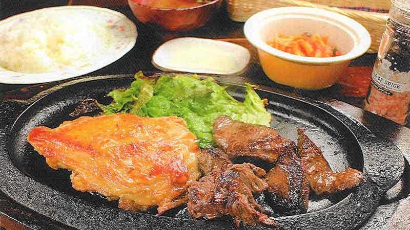 鉄板ステーキ 牛&若鶏