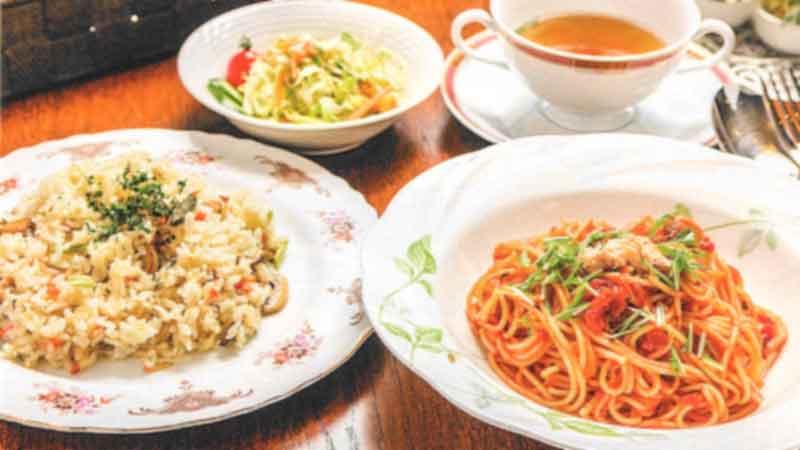 ツナとみず菜の冷製ナポリタンor山菜ピラフ