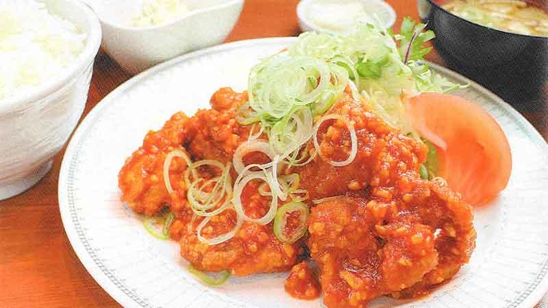 鶏チリソース定食