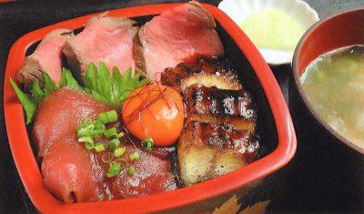天然マグロ・ウナギ・ローストビーフの三色丼