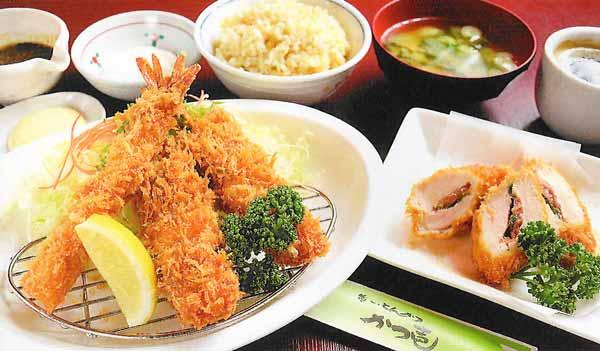 紫波黒豚串かつ・梅肉のはさみ揚げ・海老フライ定食