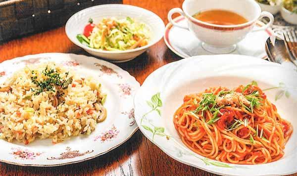 ツナとみず菜の冷製ナポリタン or 山菜ピラフ