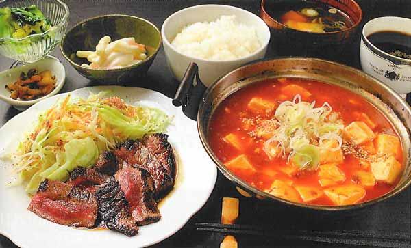 牛ステーキ定食 or ピリ辛マーボー豆腐定食