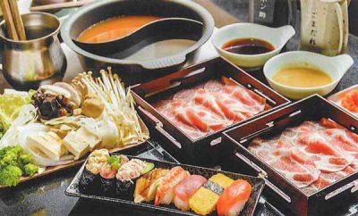 豚肉二皿セット+にぎり寿司食べ放題(70分)