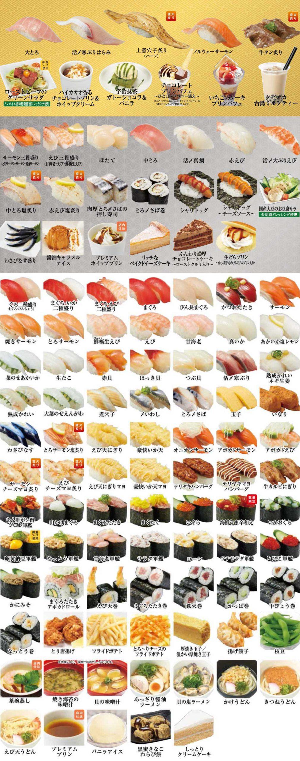 メニュー 食べ かっぱ 寿司 放題